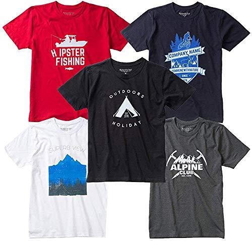 メンズ 半袖 Tシャツ 5枚組 デザイン固定 プリント アウトドア 透けない 綿100 LL [r-rnt-021907~021911-6L]