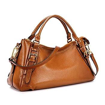 Kattee Women s Soft Genuine Leather Crossbody Bags Ladies Designer Purses Medium Size Hobo Handbags Top Handle  Sorrel