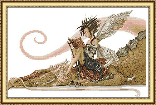 Joy Sunday The Girl Sits on The Dragon Reading A Book Counted Cross Stitch Kits,Cross-Stitch White Blank Fabric Embroidery Kit 14CT 21''x14''