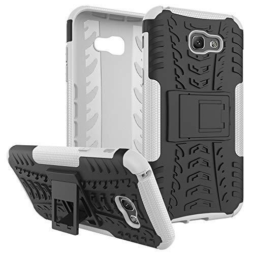 pinlu® Funda para Samsung Galaxy A7 2017 Smartphone Doble Capa Híbrida Armadura Silicona TPU + PC Armor Heavy Duty Case Duradero Protección Neumáticos Patrón Blanco