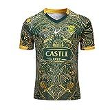 HANJIAJKL Équipe Afrique du Sud,Springboks, 7s, Maillot De Rugby, Nouveau Tissé Brodé, Swag Sportswear S-XXXL,Jaune,S