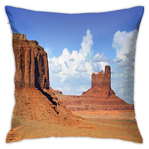 Lsjuee Monument Valley Funda de cojín Decorativa de poliéster Funda de cojín para sofá en casa Dormitorio Silla de Coche Fiesta en casa Interior Exterior 18 x 18 Pulgadas 45 x 45 cm