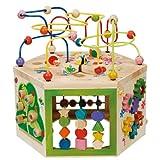 EverEarth ガーデンアクティビティキューブ 木製シェイプ&カラーソーター、ビーズ迷路&数える赤ちゃんのおもちゃ。