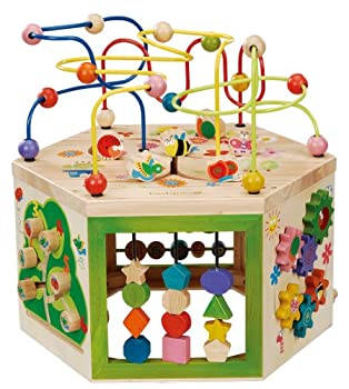 EverEarth Garden Activity Cube Wood Shape & Color Sorter Bead Maze & Counting Baby Toy