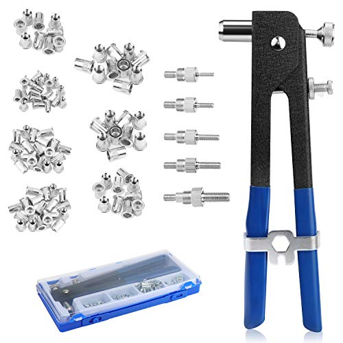 WiMas - Kit di rivettatrici per rivetti a mano, 106 pezzi, per rivettare, rivettatrice a mano, con inserto filettato M3, M4, M5, M6, M8