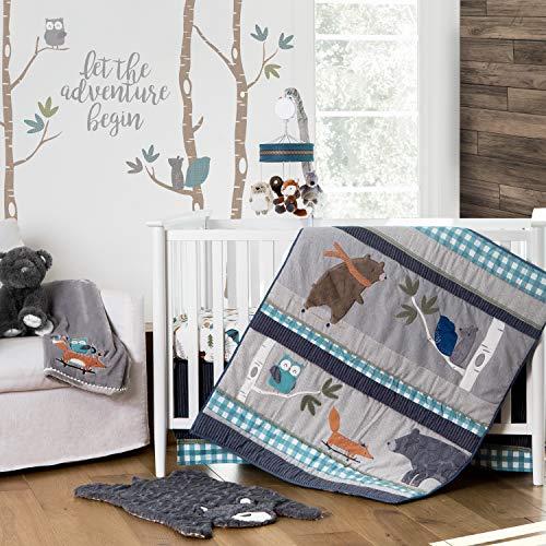 Navy//Green//Grey//Brown//White Levtex Baby Play Day Teal Plaid 5-Piece Crib Bedding Set