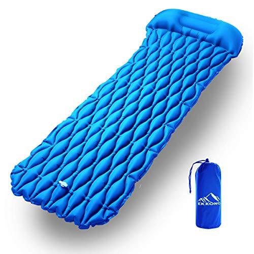 EKKONG Matelas de Camping Gonflable, Coussin d'air Ultraléger, Matelas Gonflable Résistant à l'eau pour Camping, Voyage, Plage, Tente, Sac de Couchage (Bleu)