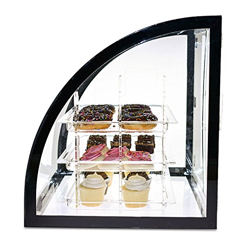 Source One LLC Deluxe Food & Bakery Display Case Countertop Large Clear Premium Acrylic 18 x 16.5 x 18 Inch 3 Adjustable Shelves
