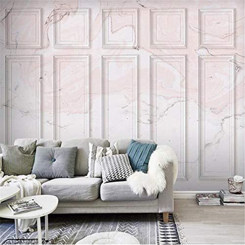 3D fotobehang 243D vlies groot behang Mediterrane gepersonaliseerde moderne wanddecoratie Europese muur van marmer stereoscoop roze rooster vierkant luxe licht 120*100cm