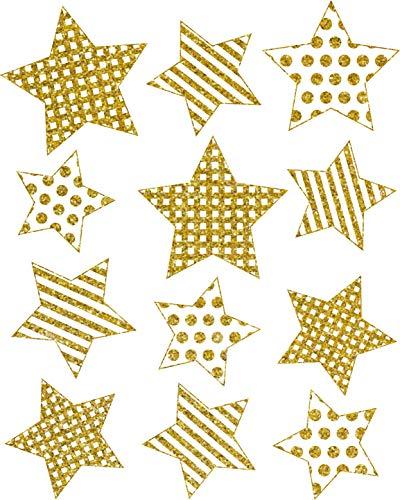 AVERY doelvorm art. 52951 vensterfoto's Kerstmis 12 sterren (raamsticker, raamfolie, raamdecoratie, kerstdecoratie raam, verwijderbaar, folie beglimmerd) goud