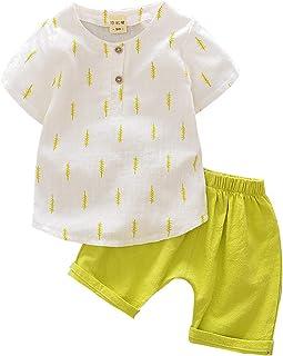 Toddler Boy's 2 Pieces Shorts Set Fashion Short Sleeve Shirt Loose Solid Color Short Pants Set