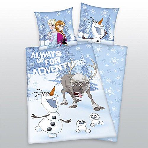 Frozen - Olaf - Sven - Anna et Elsa - La Reine des Neiges - Disney - Always up for Adventure - Parure de lit pour adolescent - Housse de couette : 135 x 200 cm - Composition : 100 % coton - Lavable à 60 °C - Passe au sèche-linge