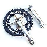 QXYOGO Bielas MTB Alumniun aley crankset Road Bicycle 163mm manivela 6-10 Velocidad BMX Bicicleta Bicicleta Bicicleta 130bcd 39-53t Cadena Rueda Doble Plato Bielas Bicicleta