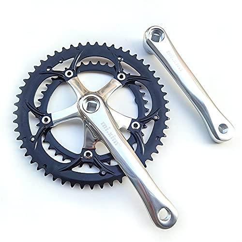 HIXISTO Plato Y Bielas,Dientes Y Bielas Alumniun aley crankset Road Bicycle 163mm manivela 6-10 Velocidad BMX Bicicleta Bicicleta Bicicleta 130bcd 39-53t Cadena Rueda Doble Plato