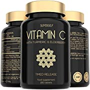 Vitamin C 1000mg Tablets - Enriched with Elderberry and Turmeric Curcumin - Timed Release Formula - 180 Tablets - High Strength VIT C Supplement - Made in The UK - Immune System Complex