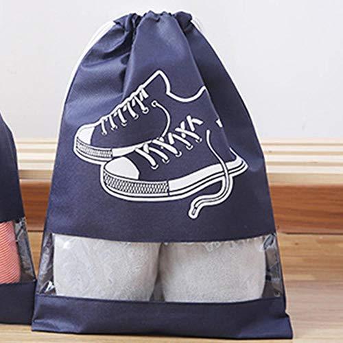 Aomerrt Bolsa de Zapatos Impermeables Bolsa de Almacenamiento de Zapatos portátil de Viaje Zapatillas de Deporte Bolsas con cordón Bolsas de Tela no Tejidas, algodón Azul, 36X 26cm