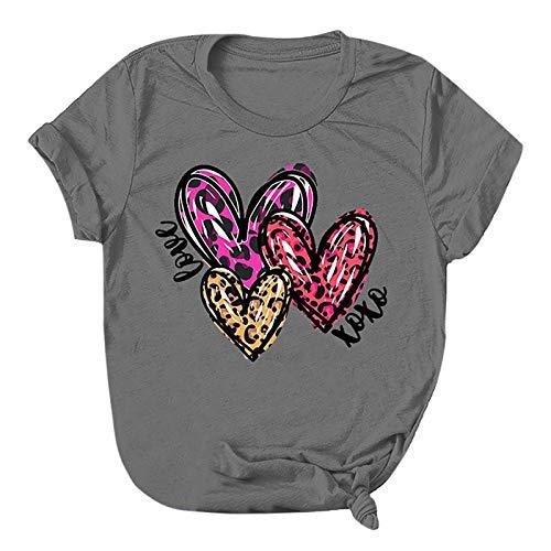 Camiseta Mujer Manga Corta Barata,Camiseta con Estampado de Amor para el día de San Valentín para Mujer, Camisetas Casuales de Manga Corta, Camisetas Deportivo,Fitness,devertidas YANFANG
