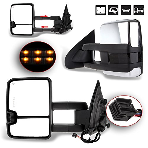 FEIPARTS Tow Mirror Fit for 2014-2018 for Chevy Silverado for GMC Sierra 1500 for Chevy Silverado 2500 HD 3500 HD Towing Mirrors with Left Right Side Power Operation Heated with Turn Signal Light