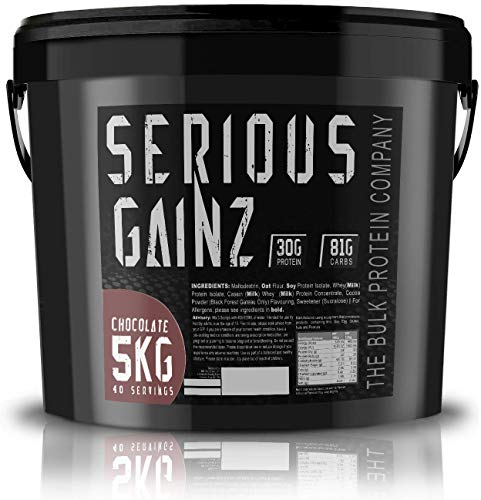 The Bulk Protein Company SERIOUS GAINZ Whey Protein Powder 5kg Weight Gain Mass Gainer 30g Protein Powders Chocolate