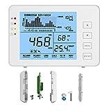 Kacsoo Monitoraggio della qualità dell'aria Rilevatore di CO2, sensore NDIR di temperatura e umidità Rilevatore di anidride carbonica a parete, analizzatore di qualità dell'aria (Bianca)
