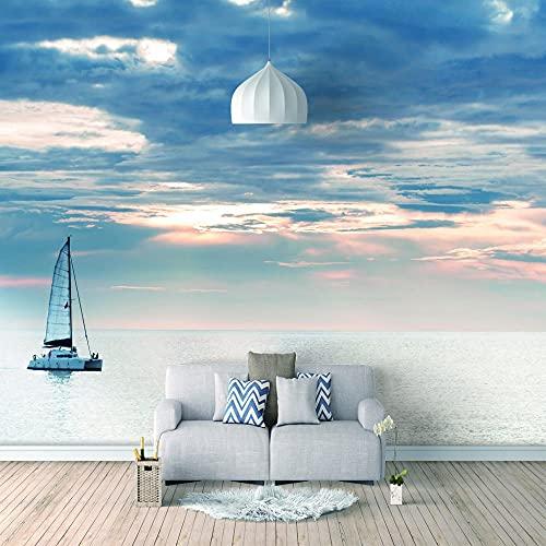 Papel Pintado 3D Foto Murales Océano de luz diurna,Papel Tapiz Fotográfico Premium No-Tejido Mural Apto para Sala de Estar Dormitorio Decoración de la Papel Tapiz 300x210 cm - 6 tiras