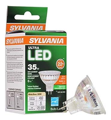 Sylvania Sylvania Ultra LED Flood LAMP, MR16, 6 WATTS, 3000K, 82 CRI, GU5.3 Base, 12 Volts, DIMMABLE, 6 PER CASE, Warm White (78240)