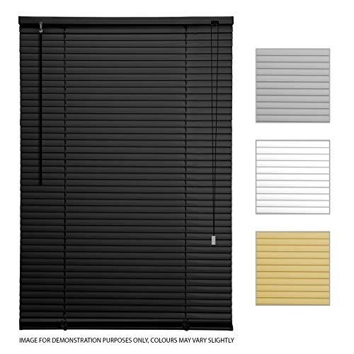 ASAB - Persianas venecianas de PVC para persianas horizontales (135 cm de Ancho, estándar), Color Negro