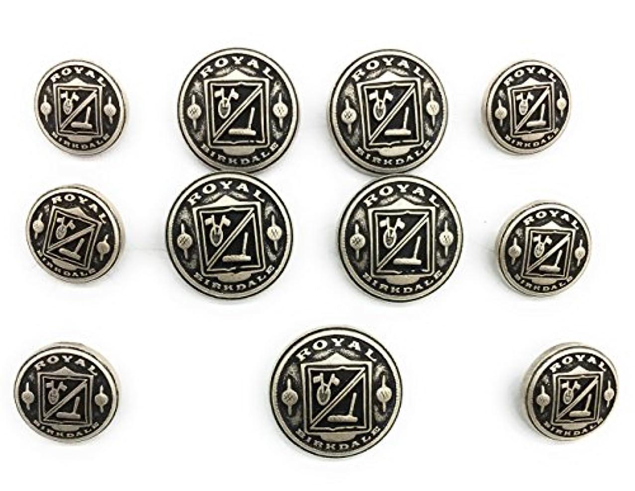11 Antique Matte Silver Crest Metal Silver Buttons Sets for Suit & Blazers