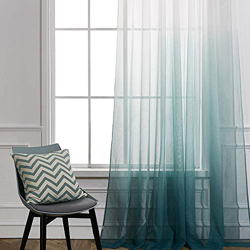 Cherhoo Ombre Semi Sheer Curtains Faux Linen Gradient Green Curtains ,Grommet Top Window Treatment Voile Drapes for Girl Room and Bedroom (Sets of 2 Panels ,W52 × L84 Inch ,Green)