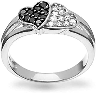 Black And White Two Tone Pave CZ 2 Double Heart Shape Promise Ring For Teen For Girlfriend 925 Sterling Silver
