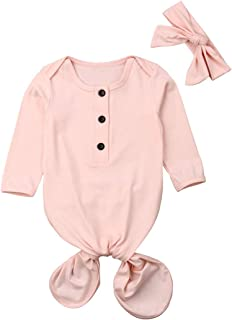 Newborn Baby Cotton Striped Gown Swaddle Wrap Knotted Sleepwear Sleeping Bags + Warm Headband (Pink 2, 0-6M)