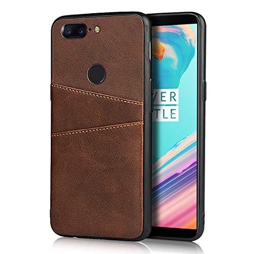 Cavor Kompatibel mit Oneplus 5T Hülle, Brieftaschendesign, Premium-Lederhülle mit 2 Kartenfächern für OnePlus 5T (braun)