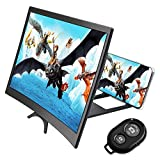 CestMall Phone Curved Screen Magnifier and Camera Shutter Remote Control combination, 12 inch 3D HD Screen Smartphone Amplifier with Foldable Stand Holder, Bluetooth Camera Control for Any Smartphone
