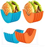 UIGJIOG Soporte para hamburguesas, reutilizable, caja fija para hamburguesas, ampliable, ajustable, higiénica, reutilizable, caja de silicona para hamburguesas, caja para hamburguesas