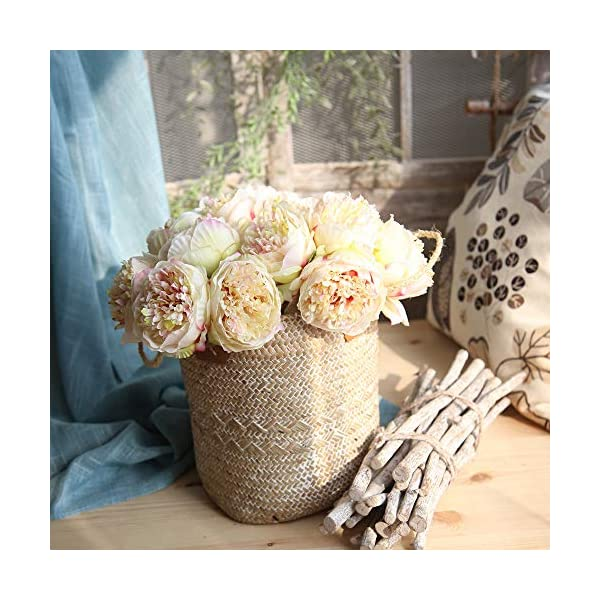 Alisy Peony Artificial Flowers, Silk Fake Flower Peony Floral Wedding Bouquet Bridal Hydrangea Decor