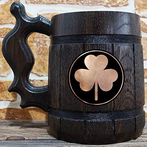 Shamrock Celtic Symbol Of The Druids Beer Mug, Personalized Beer Mug, Engraved Stein, Gift For Husband, Beer Tankard, Custom Gift for Him