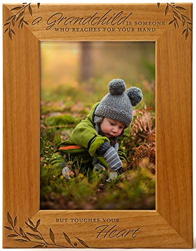 A Grandchild is Someone Who Reaches For Your Hand But Touches Your Heart, Engraved Natural Wood Photo Frame Fits 5x7 Vertical Portrait for Grandparents, Grandparent's Day, Grandma Gift, Grandpa Gift