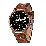 Messerschmitt Reloj de pulsera para hombre ME-0H19A tipo B Pilot, automático, esfera negra, caja de acero inoxidable, cristal mineral, correa de cuero, 5 bar