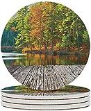 Posavasos de cerámica Nature Posavasos de bebida del bosque nacional Still Lake Protección de mesa para cualquier mesa