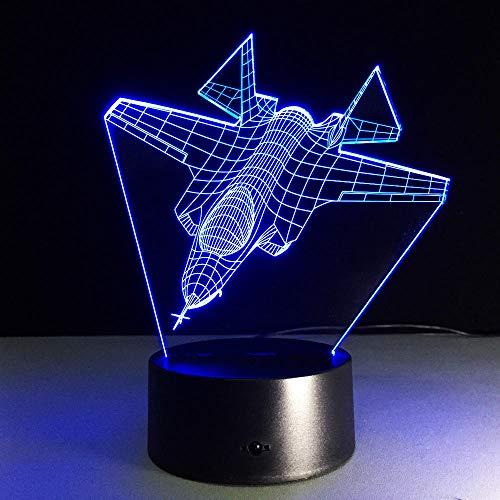 Lámpara de sueño LED 3D avión de combate 7 colores que cambian la luz del sueño decoración regalo juguetes para el hogar bebé acrílico niños decoración habitación cumpleaños-16 color remote control