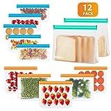 Newdora Sacchetti Sandwich Riutilizzabili 12 Pezzi Ziplock Sacchetti per Alimenti (2 per Frutta/5 per Sandwich/5 per Snack) Sacchetti per Freezer Extra Spessi FDA Sacchetti per Conservare a Tenuta