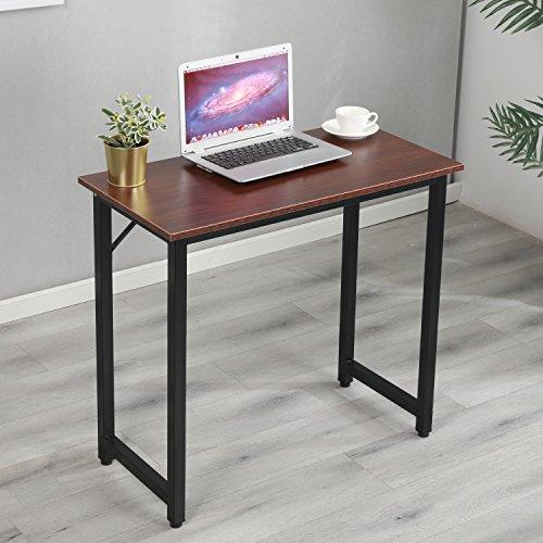 soges Schreibtisch Computertisch Kleiner Arbeitstisch Bürotisch aus Holzwerkstoff und Metallrahmen,PC Laptoptisch Studie Tisch für Zuhause und Büro,80 * 40CM,Walnuss