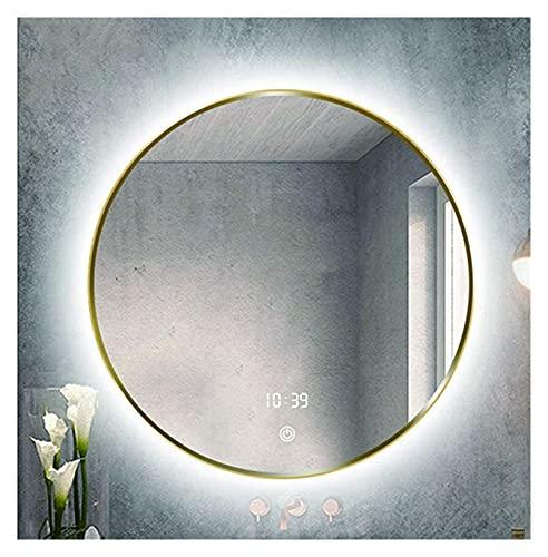 Baño redondo montado en la pared con marco de aleación de aluminio que amortigua el maquillaje con función de desempañamiento (color: 60 cm)