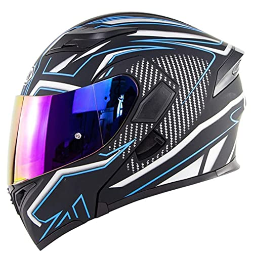 Motorcycle Full Face Helmet Double Lens DOT Certified Breathable 4 Seasons Crash Helmet for Road Motorbike Race Sports City Commute,Adult Men Women B,S