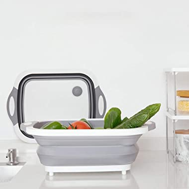 Collapsible Cutting Board with Fruits/Vegetable Dish Tub, Mixing Bowl, Colander, Ice Bucket, Fruit and Vegetable Container Basket, Strainer with Draining Plug Multifunctional Kitchen tool.