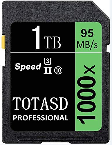 Speicherkarte, SD-Karte, TOTASD, 1024 GB, 1 TB, SDXC SD Card UHS-II, Speicherkarte, U3 Geschwindigkeit bis zu 95 MB/s für DSLR-Kamera, HD Camcorder, Gold 3D Kamera (1024 GB)