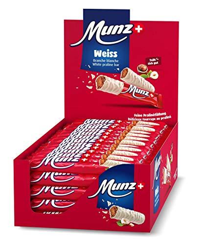 Schweizer Schokolade | MUNZ Prügeli Weiss | Branches | 60 Praliné Schokoladenriegel á 23g im Thekendisplay | 1,38kg Großpackung | Maestrani Schokolade | Glutenfrei