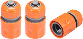 uxcell Garden Water Hose Connector 1/2 ID Plastic Repair Kit Quick Connect Fittings Adapter with Water Stop 3pcs