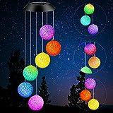 BiGosh Campanelli Eolici Solare Cambio Colore Luce Palla per Esterni, Luci Sensore Solare Automatico Impermeabile LED con Campana Decorazione Lampade Sospensione Illuminazione da Giardino Regali
