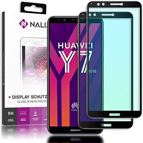 NALIA (2-Pack) Schutzglas kompatibel mit Huawei Y7 2018, 9H Full-Cover Bildschirm Schutz Glas-Folie, Dünne Handy Schutzfolie Display-Abdeckung, HD Schutz-Film Screen Protector - Transparent (schwarz)